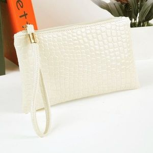 Ivory Crocodile Skin Clutch Make Up Bag